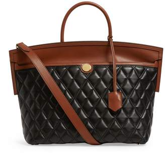 Burberry Quilted Leather-Canvas Society Top Handle Bag