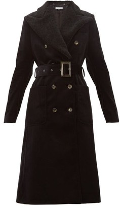 Bella Freud Ivan Shearling-collar Cotton-corduroy Coat - Womens - Black