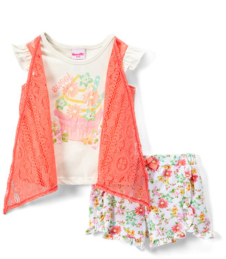 Nannette Kids Girls' Casual Shorts OFFWH - Off-White & Pink Floral Shrug-Layered Tee & Shorts - Toddler