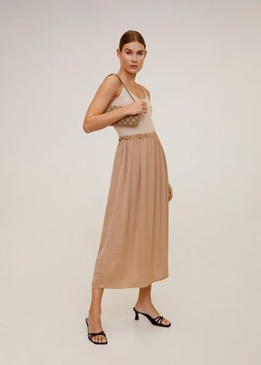 MANGO Fluid midi skirt beige - M - Women