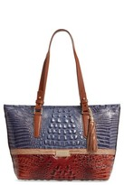 Brahmin Medium Andesite Lucino - Asher Embossed Leather Tote - Blue