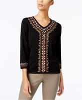 Alfred Dunner Petite Embellished V-Neck Sweater
