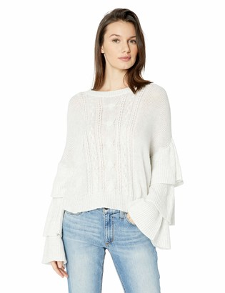 Cupcakes And Cashmere Women's Kristin Cable Knit Sweater w/Ruffle Sleeves
