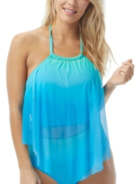 CoCo Reef Aura Ombre Mesh Overlay Underwire Tankini Top Women's Swimsuit