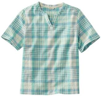L.L. Bean Women's Textured Linen/Cotton Shirt, Short-Sleeve Plaid