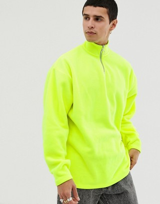 Asos Design DESIGN oversized sweatshirt with half zip track neck in neon polar fleece-Yellow
