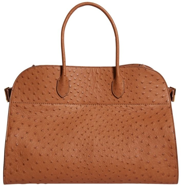 The Row Ostrich Leather Trench Tote Bag
