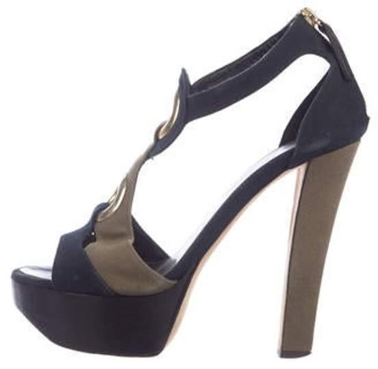 Giuseppe Zanotti Canvas Platform Sandals olive Canvas Platform Sandals