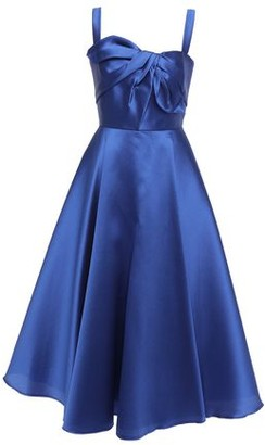 Marchesa Knotted Satin-pique Midi Dress