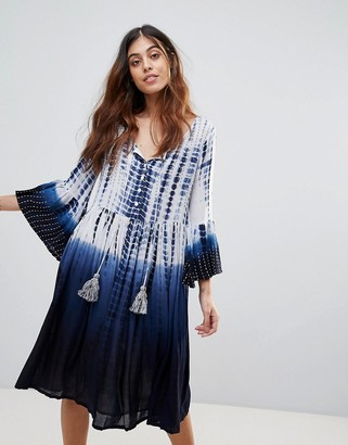 French Connection Holiday Wave Tie Dye Tunic Dress-Blue