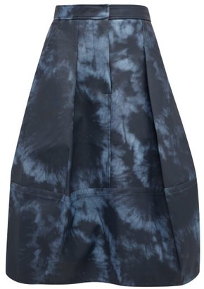 Tibi Tie-dye Print Laminated-twill Tulip Skirt - Womens - Navy Multi