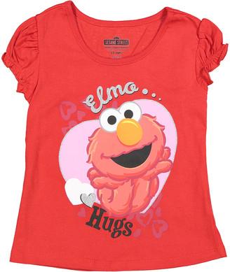 Children's Apparel Network Girls' Tee Shirts RED - Sesame Street Elmo Red 'Hugs' Tee - Girls