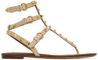 Valentino Beige Garavani Rockstud Raffia Double Thong Sandals