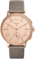 Fossil Q Women's Gazer Gray Leather Strap Hybrid Smart Watch 41MM FTW1116