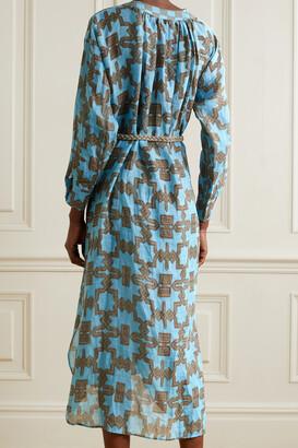 Yvonne S Belted Ruffled Printed Linen Midi Dress - Blue