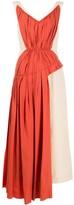 Marni Contrasting Fabric Gathered Midi Dress