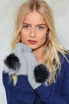 Nasty Gal Close At Hand Faux Fur Mitten Gloves