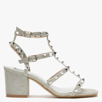 Moda In Pelle Mima Silver Studded Block Heel Sandals