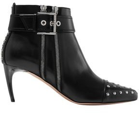 Alexander McQueen Studded Zip-embellished Leather Ankle Boots