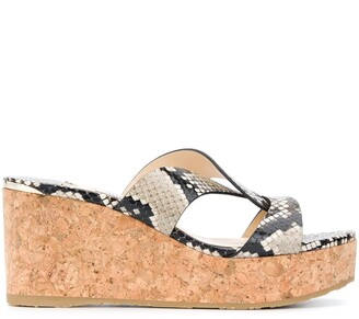 Jimmy Choo Atia 75mm snake-effect wedge sandals
