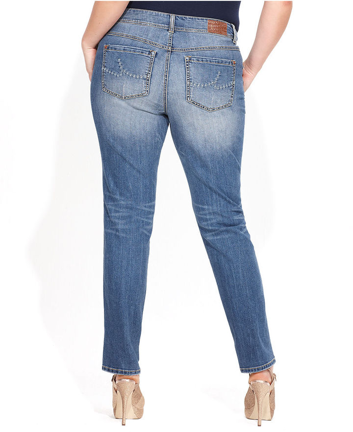 INC International Concepts Plus Size Jeans, Ankle-Length, Mid Wash