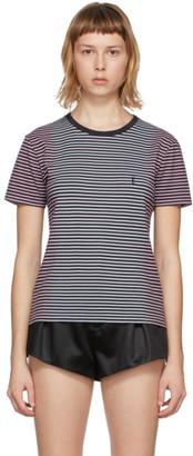 Saint Laurent Black Tie-Dye Striped Monogram T-Shirt