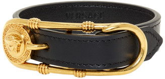 Versace Gold and Black Safety Pin Medusa Bracelet