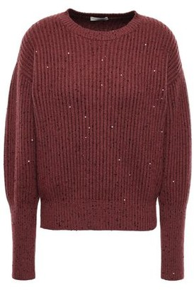 Brunello Cucinelli Sequin-embellished Ribbed Cashmere And Silk-blend Sweater