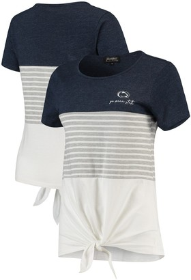 Penn State Nittany Lions Why Knot Colorblocked Striped Knotted T-Shirt - Navy