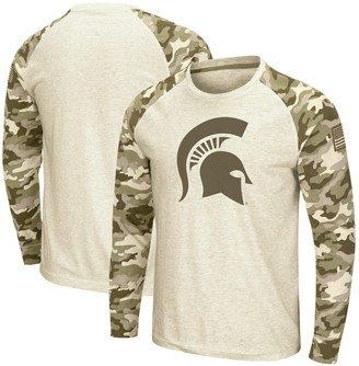 Colosseum Men's Oatmeal Michigan State Spartans OHT Military Appreciation Desert Camo Raglan Long Sleeve T-Shirt