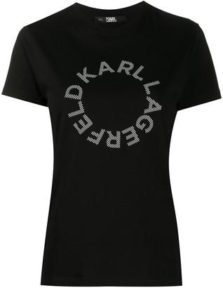 Karl Lagerfeld Paris Circle logo cotton T-Shirt