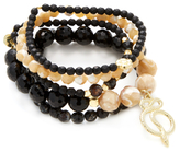 Good Charma Snake & Black Onyx Bangles (Set of 5)