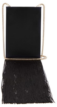 Galvan Fringed Satin Shoulder Bag - Black