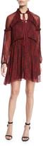 Cinq à Sept Gisele Floral Silk Ruffle Long-Sleeve Shift Dress