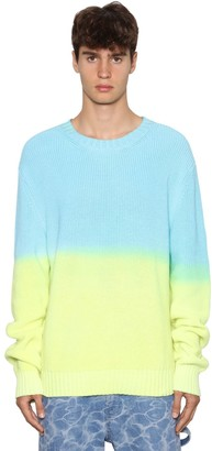 MSGM Gradient Cotton Knit Crewneck Sweater