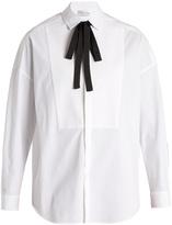 RED Valentino Tie-neck stretch-cotton shirt