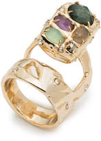 Alexis Bittar Stone Slab Double Banded Cocktail Ring