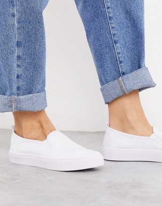 Asos DESIGN Dotty slip on plimsolls in white