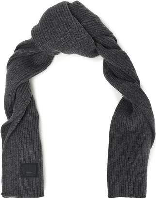 Acne Studios Bansy Appliqued Ribbed Wool Scarf