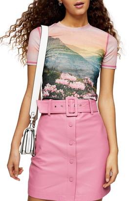 Topshop Mountain Print Mesh T-Shirt