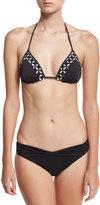 Ach'e A. Che Morrocan Sephora Triangle Swim Top, Black/White