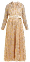 Emilia Wickstead Thelma Floral Fil-coupe Tulle Dress - Womens - White Gold