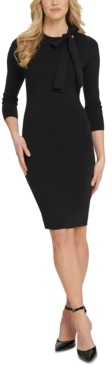 DKNY Tie-Neck Sweater Dress