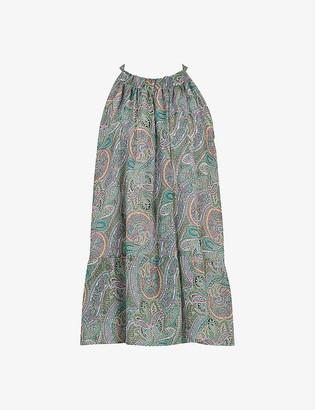 AllSaints Roma Shahmina paisley neck-tie crepe top