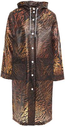Ganni Tiger-print Matte-tpu Hooded Raincoat