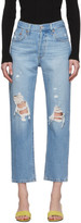 Levi's Levis Blue 501 Original Cropped Ripped Jeans
