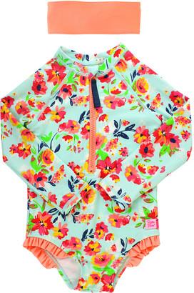 RuffleButts Girl's Floral Print One-Piece Rash Guard Swimsuit w/ Headband, Size 2T-8