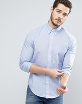 Abercrombie & Fitch Poplin Shirt Muscle Slim Fit In Blue