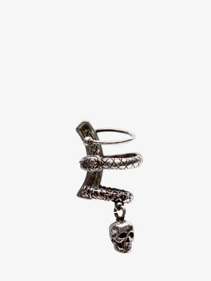 Alexander McQueen Skull and Snake Ear Cuff