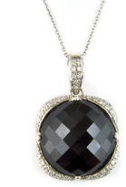 Lord & Taylor Sterling Silver Black Onyx & Diamond Pendant Necklace